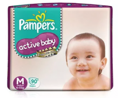 PAMPERS ACTIVE BABY DIAPERS (M) 90'S