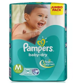PAMPERS BABY DRY DIAPERS (M) 66'S
