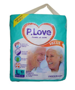 P Love Adult Diapers Large 10's